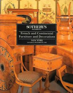 Sotheby S French Continental Furniture Decorations Auction Catalog 1992 Ebay