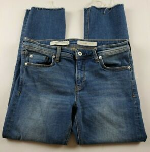 Anthropologie-Pilcro-and-the-Letterpress-Jeans-Sz-29-Slim-Straight-Raw-Hem-Denim