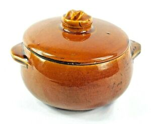 Vintage-MCCOY-POTTERY-Covered-Brown-Bean-Pot-with-Lid-Casserole-Rustic