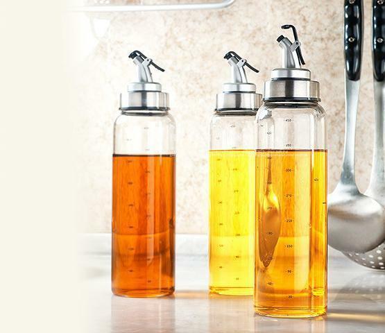 3Pcs Glass Leak-proof Olive Oil Jar Vinegar Bottle Kitchen S