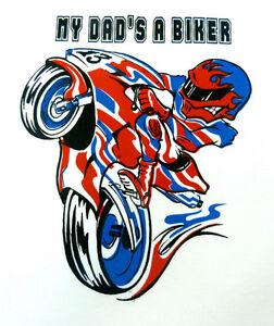 Biker-Slogan-Baby-Clothing-My-Dad-039-s-A-Biker-Sports-Bike-Logo-Babygrow