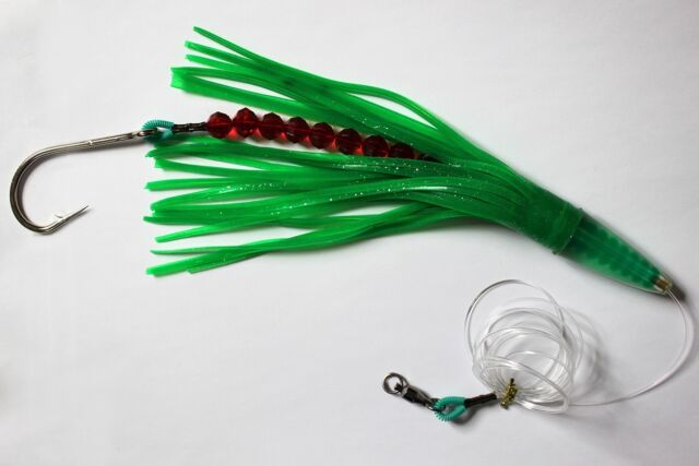 """CUSTOM OFFSHORE TACKLE 9/"""" GREEN MACHINE STYLE LURE SINGLE SKIRT PINK"""