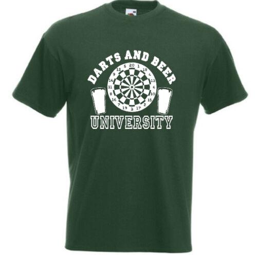 DARTS AND BEER UNIVERSITY Mens FUNNY Joke Birthday Present Gift Tee Student Uni
