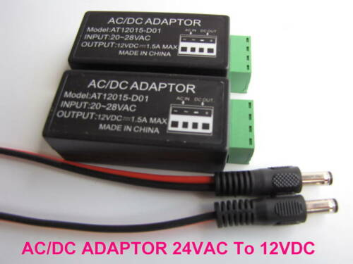 24 VAC To 12 VDC Convertor Lot of 2 CCTV Security Camera Power Supply DC Pigtail