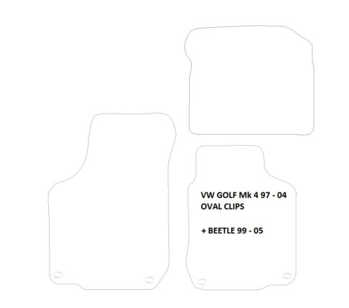 VW BEETLE  BLACK//BLUE EDGE QUALITY CAR MATS 1999-2005 with OVAL CLIPS