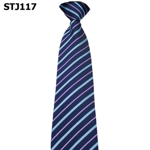 Men Formal Wide Zipper Necktie Striped Plaids Polka Dots Business Pre-tied Tie