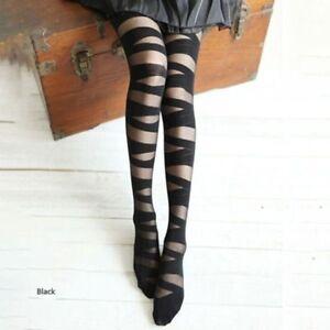 d63ddaeaeb0 Image is loading Women-Fashion-Sexy-Stripes-Print-Bandage-Tights-Pantyhose-