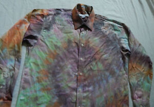Tie-Dye-Purple-Rainbow-Long-Sleeve-Button-Down-Shirt-Large-Mens-Hand-Tied-16-5