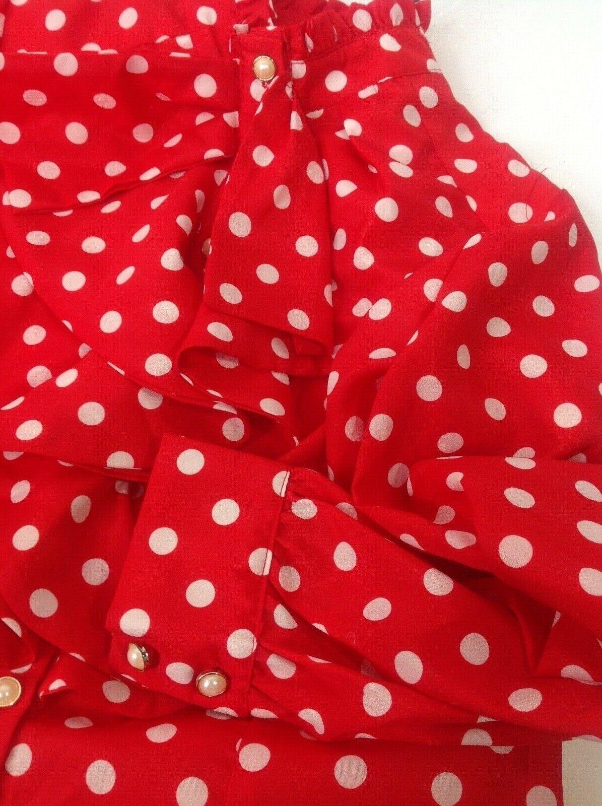 Vintage Red White Polka Dot High Neck Ruffle Blou… - image 6