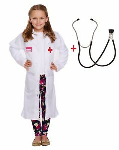 Kids Doctor Costume Hospital White Coat Fancy Dress Childs Halloween Outfit Girl | eBay