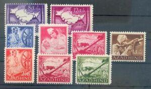Feldpost-AZAD-HIND-NATIONALES-INDIEN-I-VI-VIII-X-A-POSTFRISCH-48EUR-70304