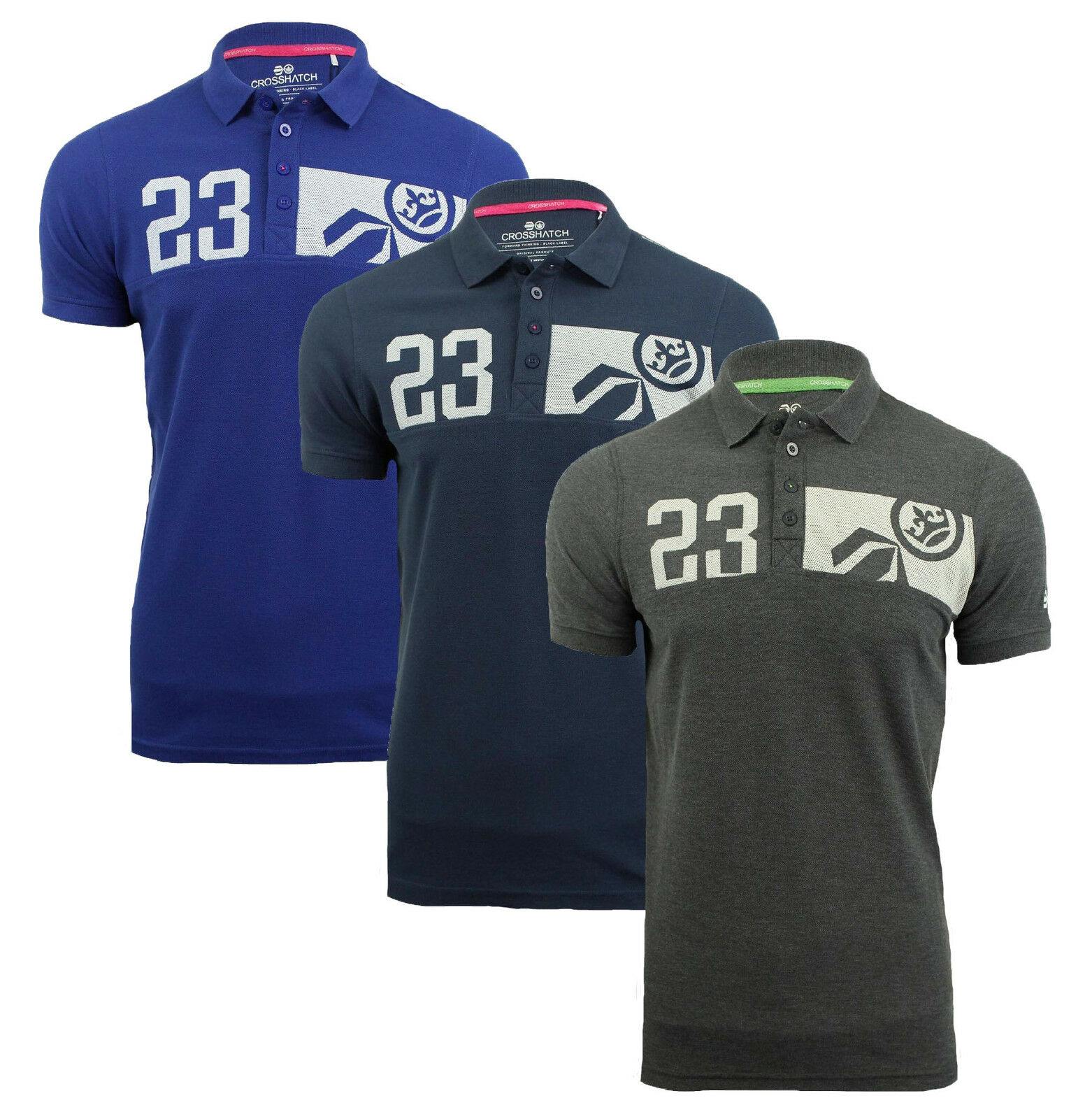 Crosshatch Cotton Polo shirt T-shirt 23 Print Top New Grey Navy bluee Matrix-Two