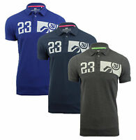 Crosshatch Cotton Polo Shirt T-shirt 23 Print Top New Grey Navy Blue Matrix-Two