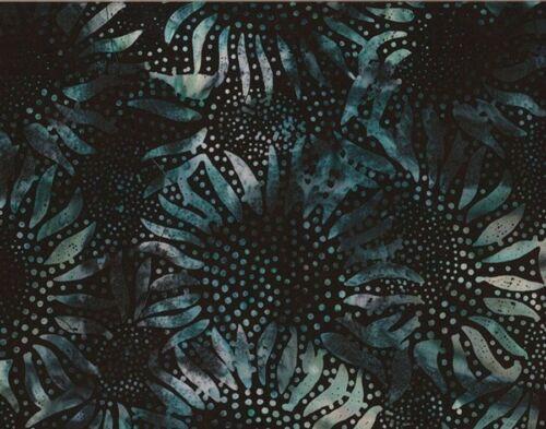 100/% Cotton Batik Hoffman Batik Bali Chop Sunflowers 884-215 Black//Blue