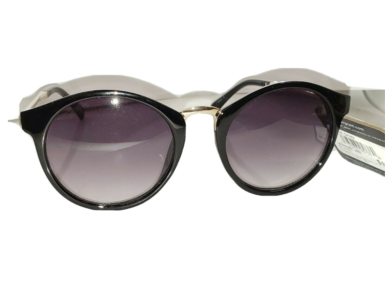 Foster Grant Sunglasses JS 18 01 MCV Black w Brass fashion stems Retro Cat Eye