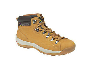 Grafters Safety Padded Collar Mens Honey Leather Lace Work Boots Shoes UK6-14