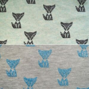 f69474dccec Image is loading Cotton-Polyester-Jersey-Stretch-Fabric-Glitter-Fox-Animal-