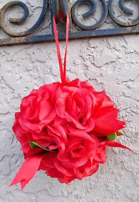 12 FLOWER BALLS / APPLE RED Kissing Ball Pomander Wedding Flowers Pew Bows Decor