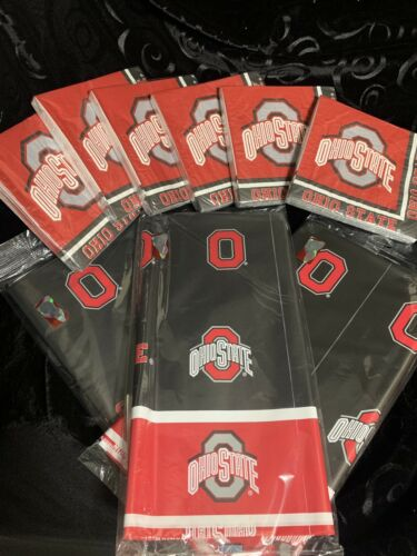 Ohio State Party Pack 5 120 Napkins And 3 Tablecloths Neb
