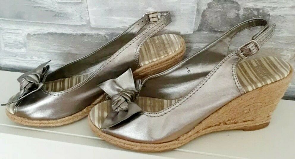 Marks And Spencer Metallic Wedges Shoes With Bow Size 4 EUR37 3in heel