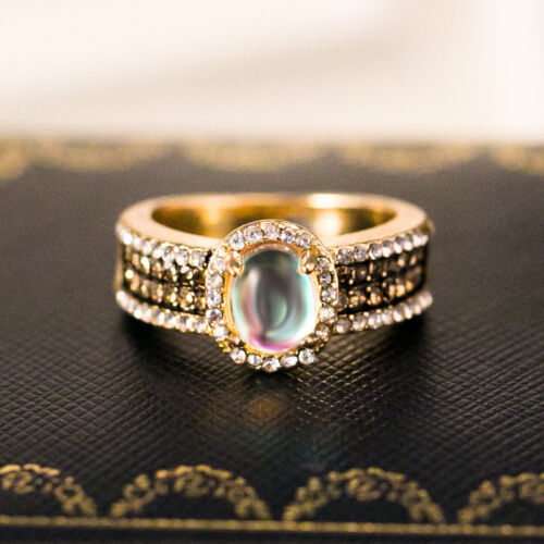 Fashion Wedding Ring for Women 18k Yellow Gold Plated moonstone Size 6-10