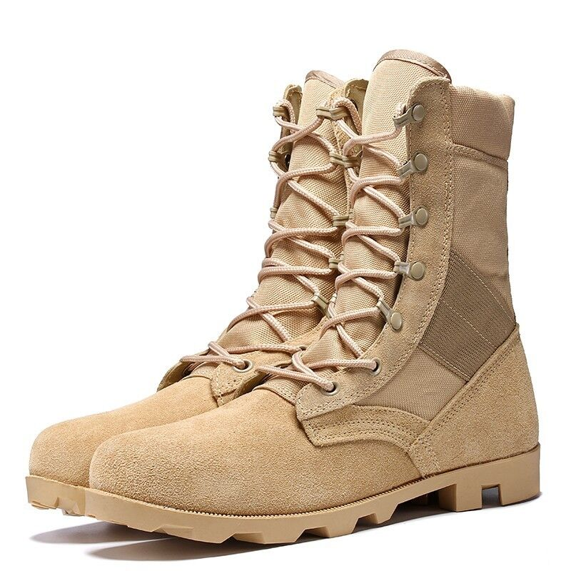 Mens Round Toe High Top Combat Ankle Boots Outdoor Lace Up shoes Desert boots sz