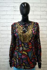 Maglia-Donna-DESIGUAL-Taglia-M-Maglietta-Polo-Manica-Lunga-Shirt-Woman-Casual