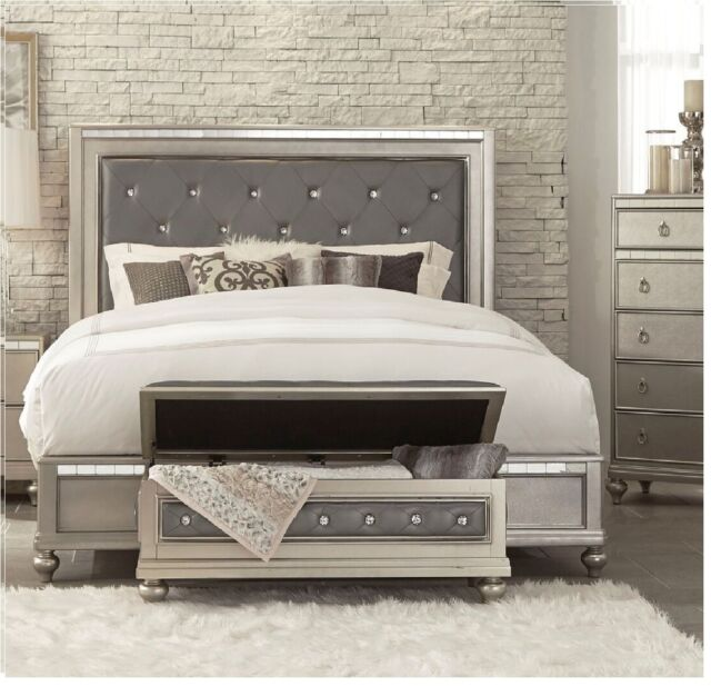 Casual Style Queen Size Mirrored Panel Home Bedroom Silver
