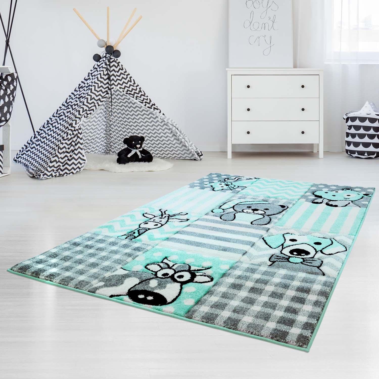 Kinderteppich Teppich mit Karo-Muster, Tieren  Hund, Katze, Kuh, Giraffe Mint   Guter Markt