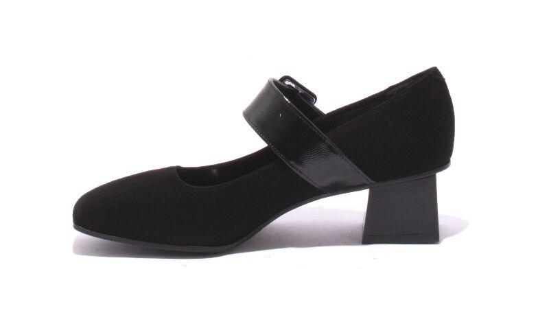 Isabelle 244 Black Suede     Patent Leather Strap Heel shoes Pumps 38.5   US 8.5 5a899b