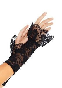 LA-A1955-Sexy-Black-Lace-Gauntlet-Art-Warmers-Burlesque-Gloves-with-Ruffle