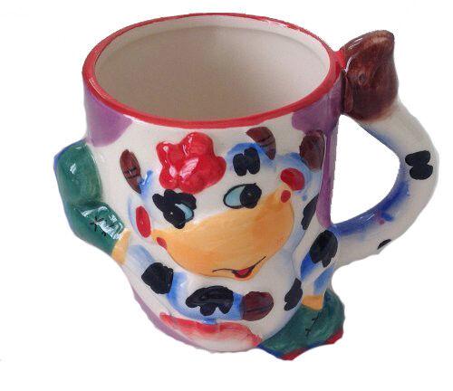 Becher Kinder Tasse mit Henkel lustige Zoo Kindergeschirr Kuh