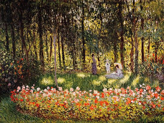 Claude Monet  Wooded Scene Keilrahmen-Bild Leinwand Wald