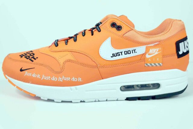 2d498d8836c0 Nike Air Max 1 SE JDI Just Do It Total Orange White Black AO1021 800 Size