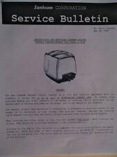 SUNBEAM Radiant T-20 Toaster Service Manual Instructions, Schematics, Parts List