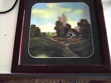 Bild mit Bauernhof ohne See, gehört zu 2 anderen, mit Rahmen, 35x35 cm groß, geb