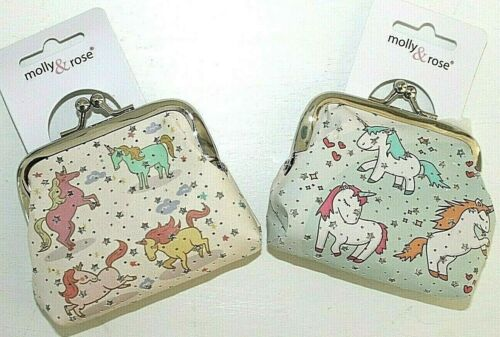 Small Unicorn Clip Frame Party Coin Purse Green or White with Silver Stars