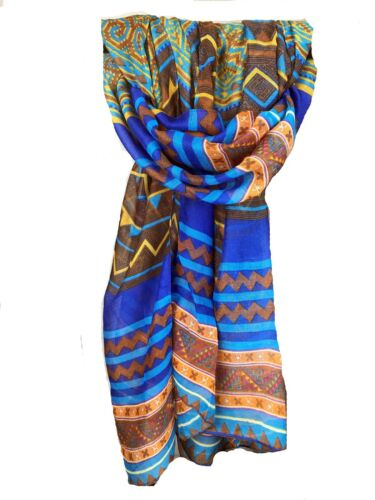 Bufanda grande chal Pashmina Envolvente Damas Tribal Azteca ZigZag impresión Púrpura Azul Rojo