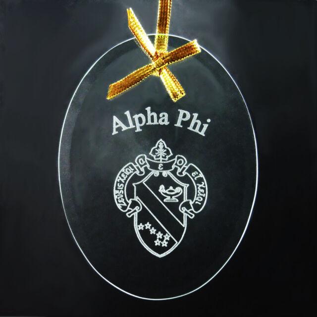 Alpha Phi, ΑΦ, Ornament/Sun Catcher Sorority Name &Crest Beveled Crystal