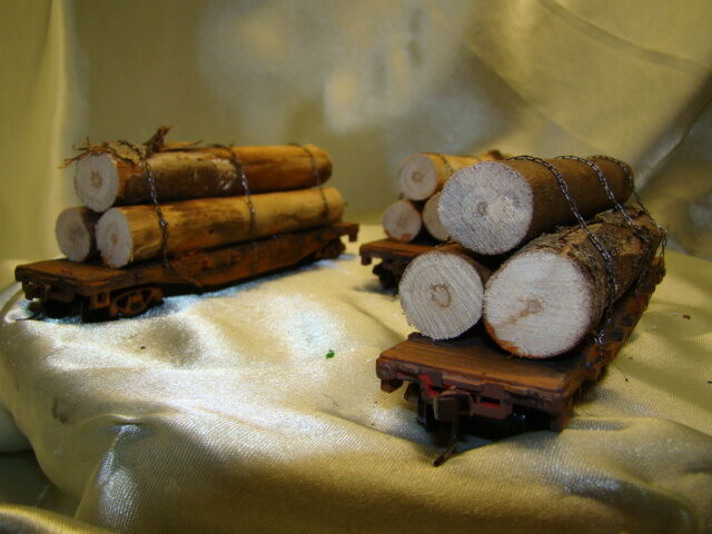 12  super  Homemade Logging Flat  Car- - handcrafted from picture - HO lot A&7