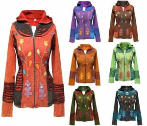 Women-Festival-Ethnic-Look-Ladies-Hippy-Ribs-Hoodie-Light-Weight-Festival-Jacket