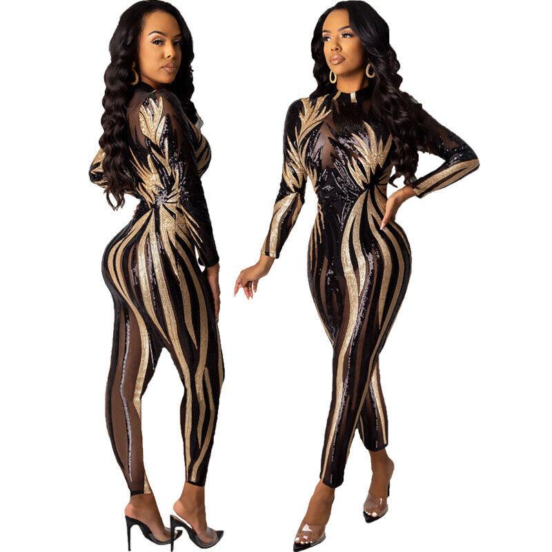 Women Ladies Clubwear Mesh  Long Sleeve Playsuit Bodycon Party Jumpsuit /& Romper