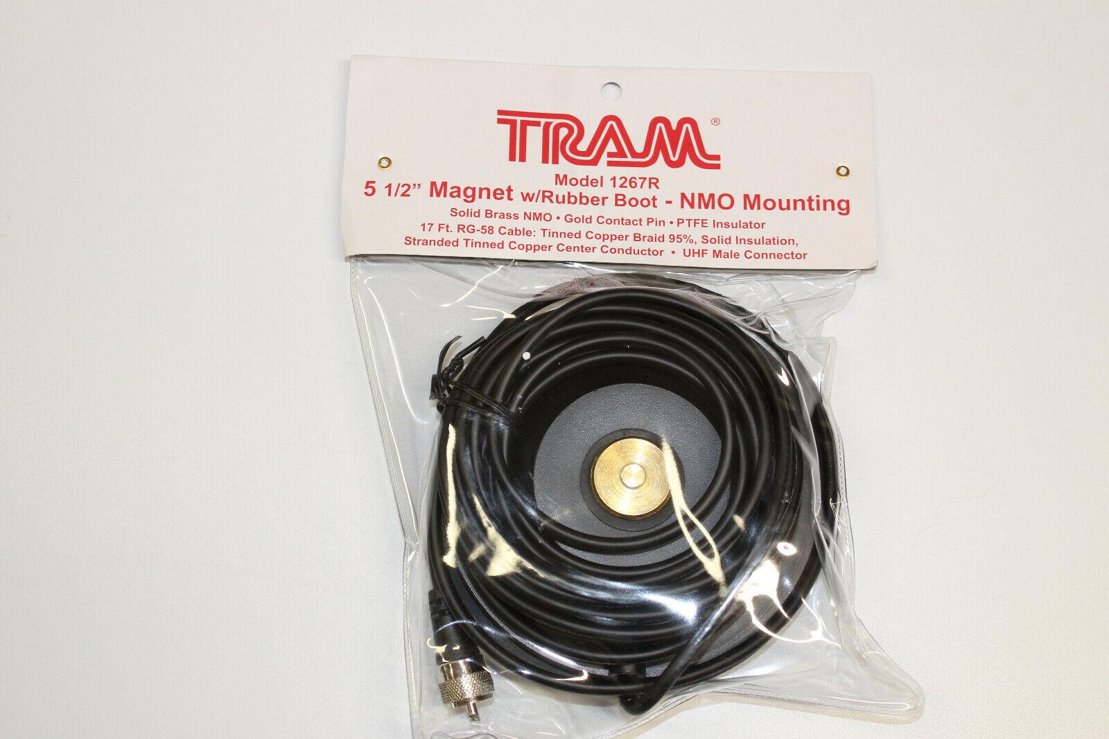 "Antenna Mount W// Rubber 1267R TRAM 5 1//2/"" Magnetic Mag NMO Mount MINI UHF Conn"