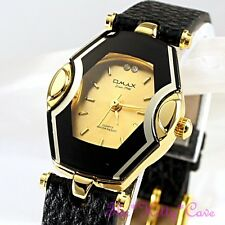 Swiss OMAX Ladies Black & Gold Slim Seiko Movt Mirror Glass Leather Watch CE0026