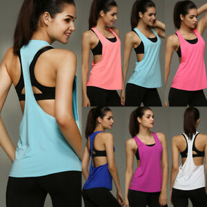 Women-039-s-Gym-Tank-Sports-Fitness-Shirt-Yoga-Tops-Workout-Sleeveless-Runnging-Vest