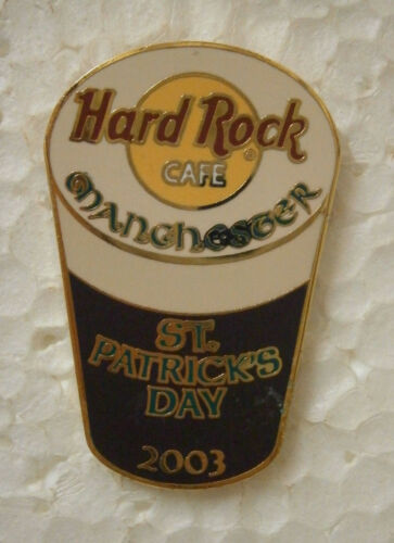 Hard Rock Cafe Manchester 2003 St Patricks Day Pint of Beer Pin .