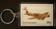 RAF BRISTOL BEAUFIGHTER Beau Type 156 Fighter WWII Aircraft Stamp Keyring