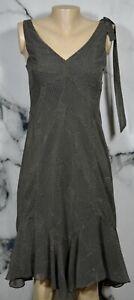 ANN-TAYLOR-LOFT-Black-Beige-PolkaDot-Sleeveless-Dress-2-Asymmetrical-Ruffle-Hem