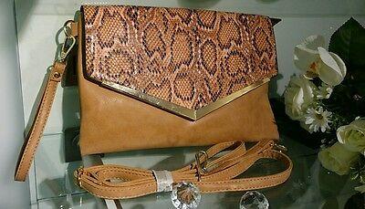 Damentasche Tasche Clutch Abendtasche Damen Handtasche Neu Schlange braun