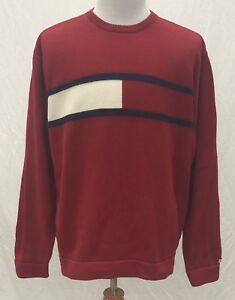 VTG Tommy Jeans by Tommy Hilfiger Red Crew Neck Sweater Men's 2XL Made in Japan